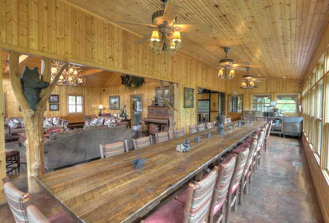 Large dining table in the cabin